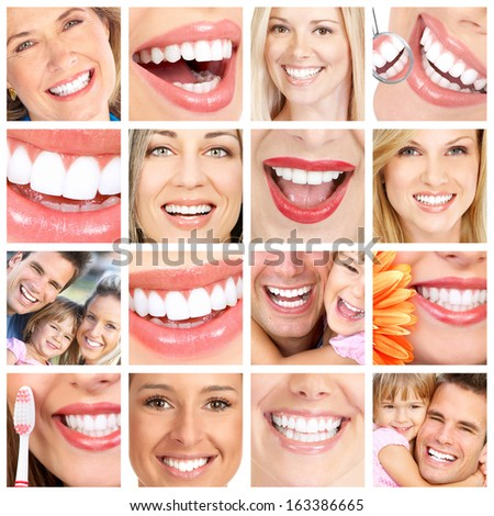 People teeth collage. Man and woman portrait isolated.