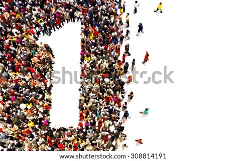 People that are winners ,leaders,or success concept. People in the shape of the number one on a white background. - stock photo