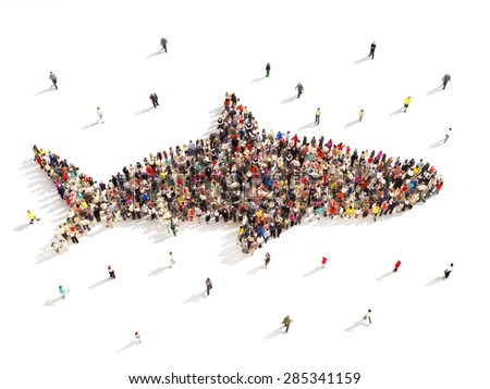 People that like shark week. Large group of people in the shape of a shark on a white background. - stock photo