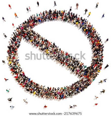 People that say no, prohibited, rejection,  or no support concept. Large group of people in the shape of a no sign with room for text or copy space. - stock photo