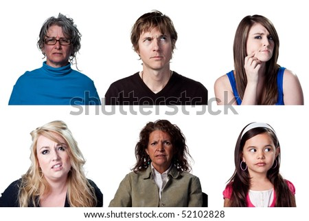 People thinking hard about a big decision - stock photo