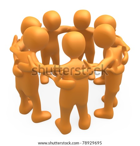 People together forming a huddle . - stock photo