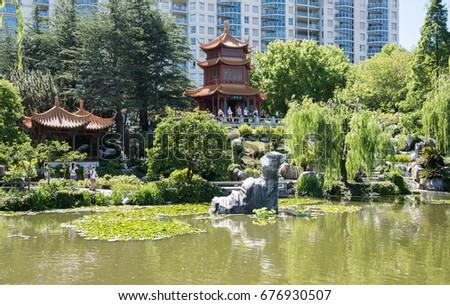 People Touring Lush Chinese Garden Friendship Stock Photo 676930507 ...