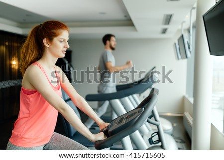 People training endurance and cardio in gym - stock photo