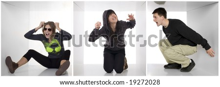 People trapped inside white boxes fighting and arguing. Young woman in the middle going mad - stock photo