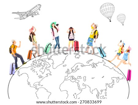 people travel around the world and Global map concept