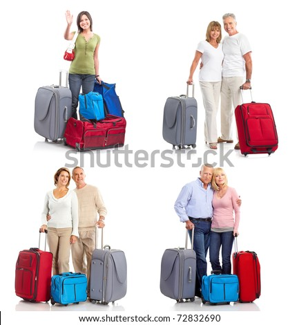 people travelers with bags. Isolated over white background. - stock photo