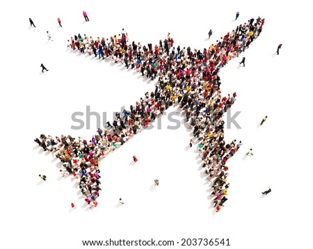 People traveling. Large group of people in the shape of an aircraft on a white background. - stock photo