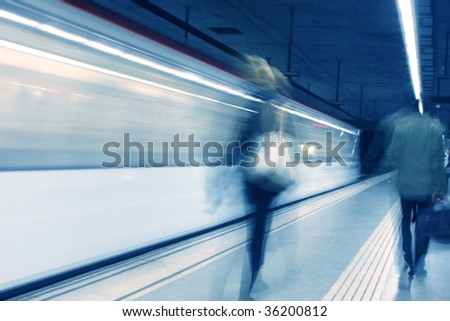 people travelling catching the subway