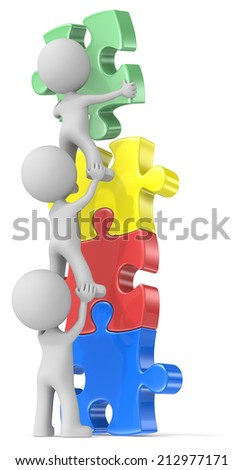 People Unite. The dude x 3 building puzzle diversity tower in four colors. - stock photo