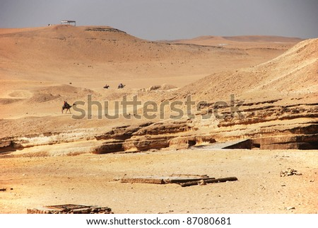people upon camels in the desert - stock photo