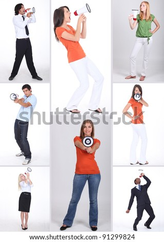 people using a megaphone - stock photo