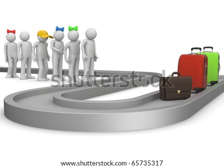 People waiting for a luggage in airport. Travel collection. - stock photo