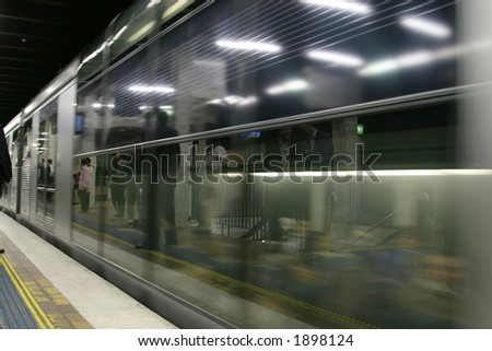 people waiting for the subway - stock photo