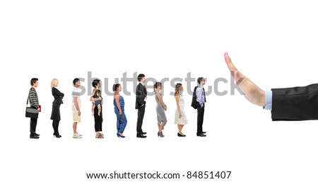People waiting in line and a hand gesturing stop isolated on white background - stock photo