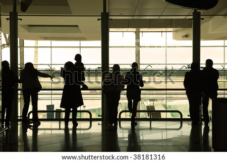 people waiting in the airport - stock photo