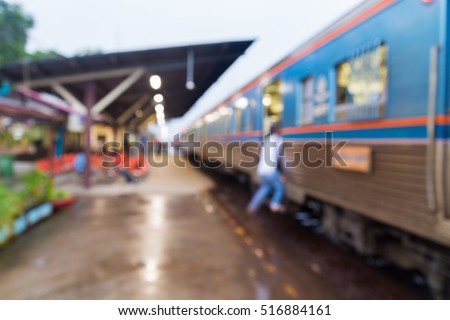 People walk and climb Train in Train Station, Abstract Blur or Defocus Background