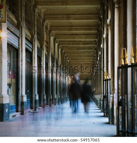 people walking in a corridor, motion blur, toned image