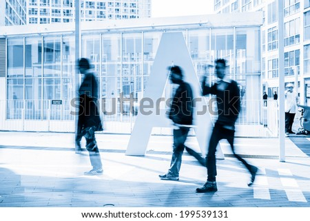 People walking in the business district