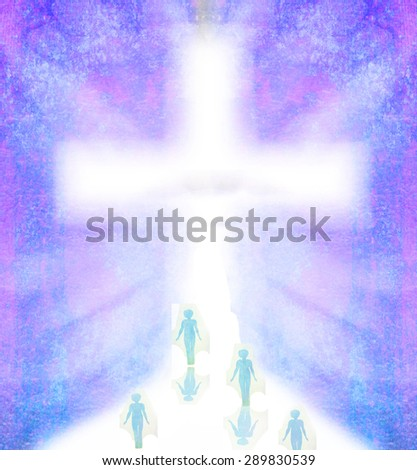 People walking in the direction of the cross - stock photo
