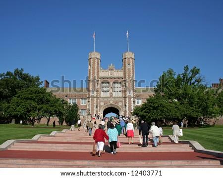 People walking on steps at Washington University for graduation - stock photo