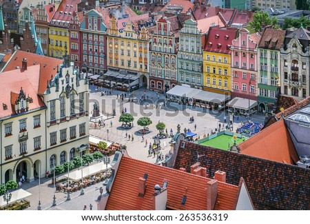 People walking on the market square in Wroclaw, Poland. Top view. - stock photo