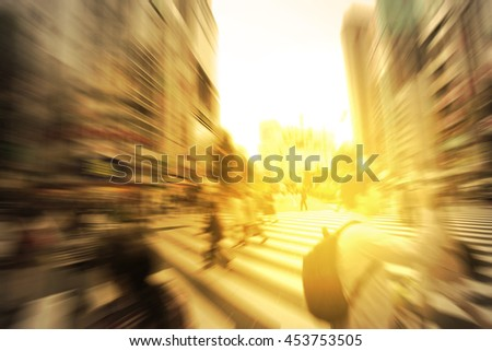 people walking on the street with zoom blur background