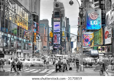 People walkingon the  Times Square - Manhattan,New York City, United states of America - stock photo