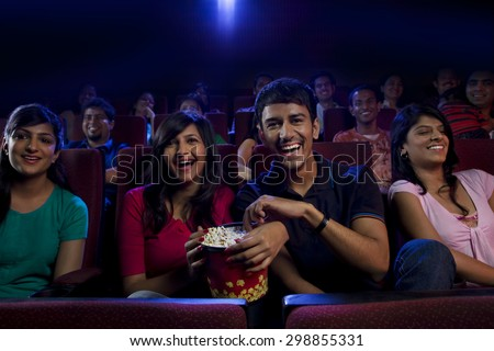 People watching a movie - stock photo