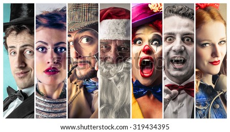 People wearing different costumes - stock photo