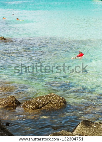 People were diving in the sea, Phuket Island in Thailand