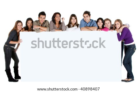 People with a giant banner isolated over a white background - stock photo