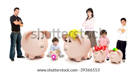 People with a piggybank family isolated on white - stock photo
