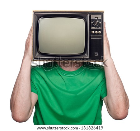 people with a TV for a head - stock photo
