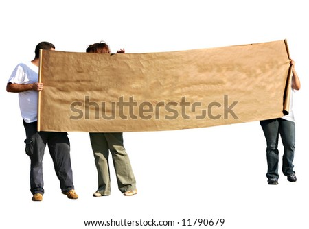 People with blank scroll sign - isolated. People with blank scroll sign - isolated. - stock photo