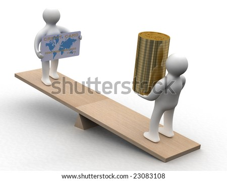 People with cash and a credit card on weights. 3D image - stock photo