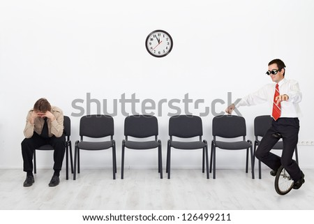 People with different qualifications at the job interview - with copy space - stock photo