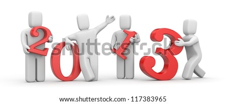 People with digits. New Year metaphor - stock photo