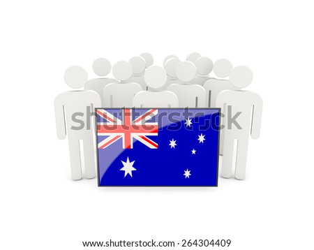 People with flag of australia isolated on white - stock photo