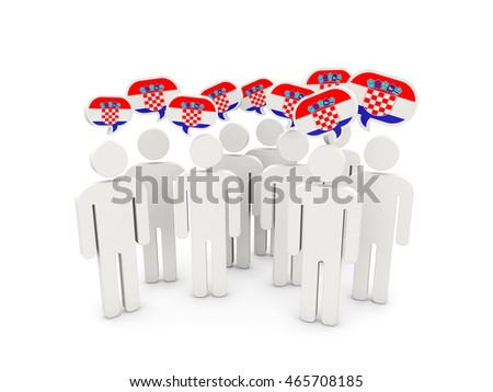 People with flag of croatia isolated on white. 3D illustration