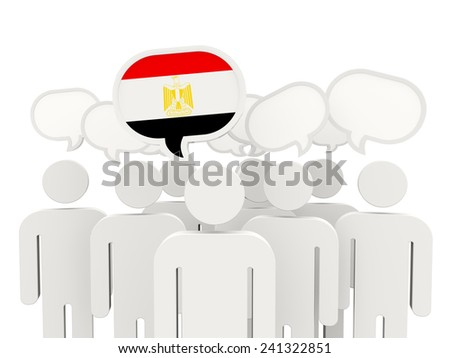 People with flag of egypt isolated on white - stock photo