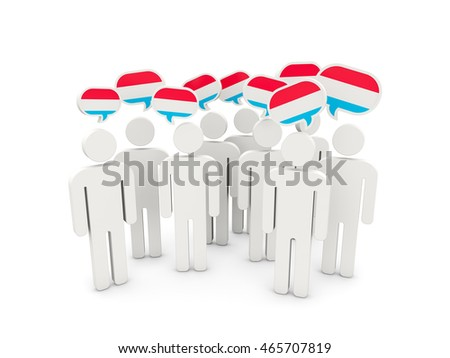 People with flag of luxembourg isolated on white. 3D illustration