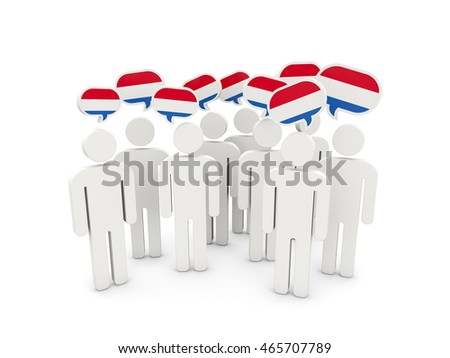 People with flag of netherlands isolated on white. 3D illustration