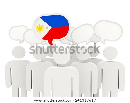 People with flag of philippines isolated on white - stock photo