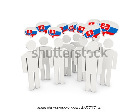 People with flag of slovakia isolated on white. 3D illustration