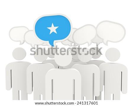 People with flag of somalia isolated on white - stock photo