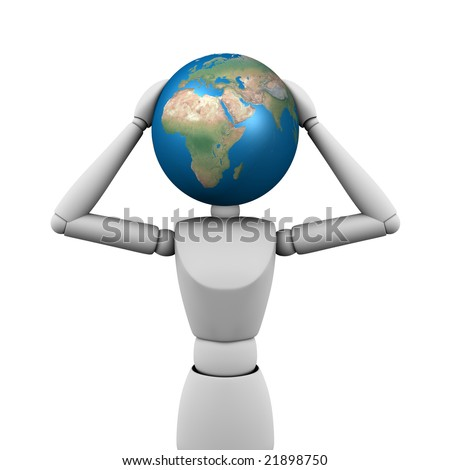 People with globe-head on white background - stock photo