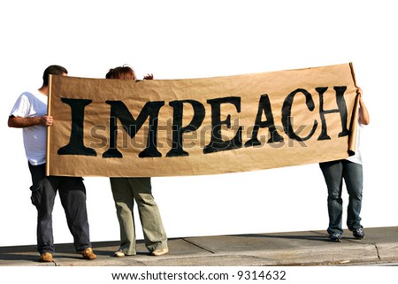 People with impeach sign on sidewalk - isolated. - stock photo