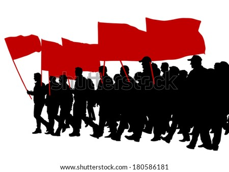 People with large flags on street - stock photo
