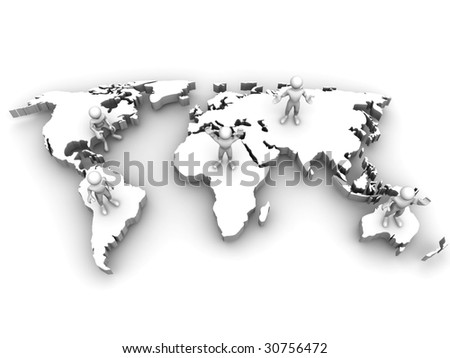 People with map of world. 3d - stock photo